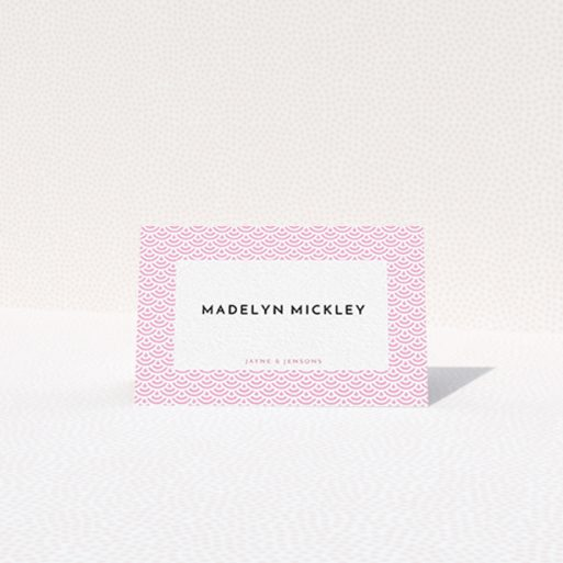 """A table place card called """"Pink Fans"""". It is an 85 x 55mm card in a landscape orientation. """"Pink Fans"""" is available as a folded card, with tones of pink and white."""
