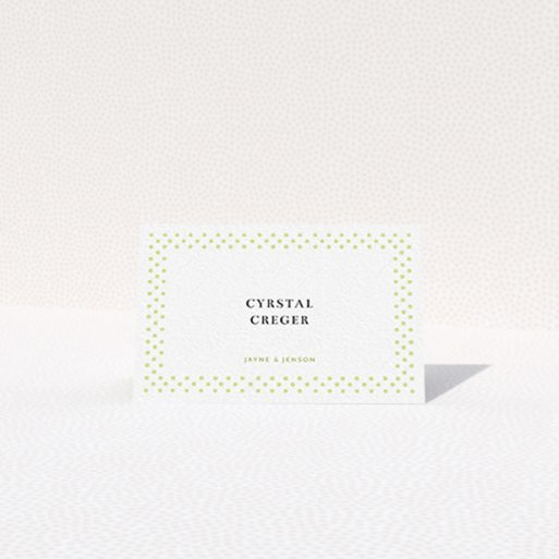 """A table place card named """"Polka-dot Splatter"""". It is an 85 x 55mm card in a landscape orientation. """"Polka-dot Splatter"""" is available as a folded card, with tones of gold and white."""