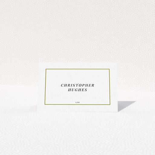 """A table place card design called """"Simple Gold"""". It is an 85 x 55mm card in a landscape orientation. """"Simple Gold"""" is available as a folded card, with tones of gold and white."""