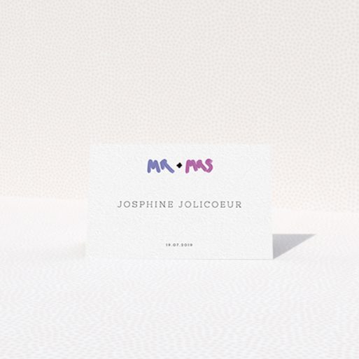 """A table place card design named """"The New Mr and Mrs"""". It is an 85 x 55mm card in a landscape orientation. """"The New Mr and Mrs"""" is available as a folded card, with tones of white and blue."""
