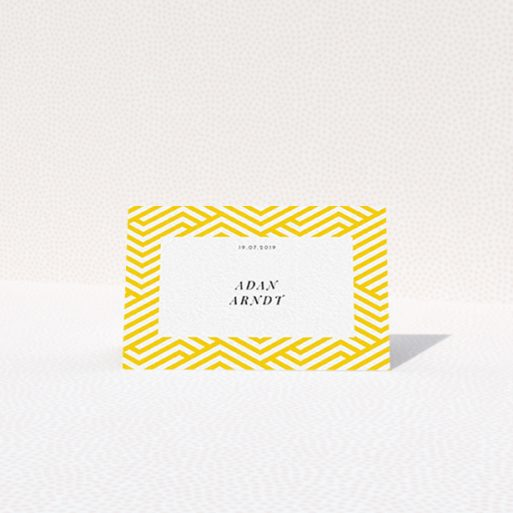 """A table place card named """"Yellow lines"""". It is an 85 x 55mm card in a landscape orientation. """"Yellow lines"""" is available as a folded card, with tones of yellow and white."""