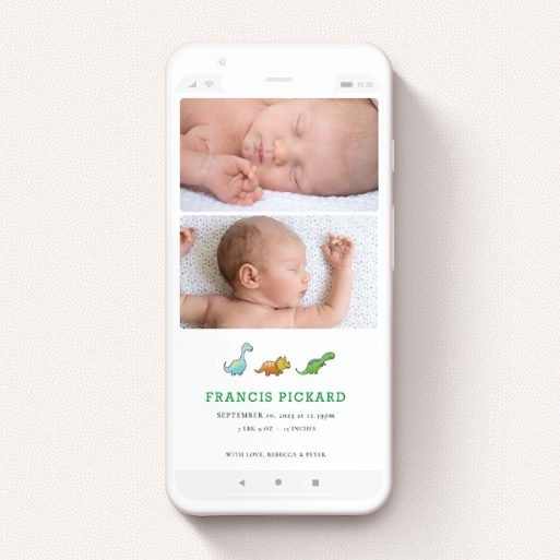 """A text message birth announcement design titled """"BabySaurus"""". It is a smartphone screen sized announcement in a portrait orientation. It is a photographic text message birth announcement with room for 3 photos. """"BabySaurus"""" is available as a flat announcement, with tones of white, green and light blue."""