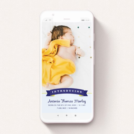 """A text message birth announcement design titled """"Big Banner - Boy"""". It is a smartphone screen sized announcement in a portrait orientation. It is a photographic text message birth announcement with room for 1 photo. """"Big Banner - Boy"""" is available as a flat announcement, with mainly blue colouring."""