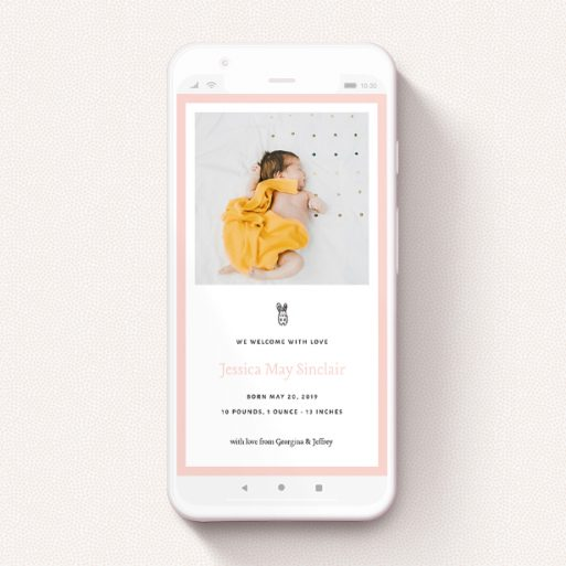"""A text message birth announcement called """"Little Bunny"""". It is a smartphone screen sized announcement in a portrait orientation. It is a photographic text message birth announcement with room for 1 photo. """"Little Bunny"""" is available as a flat announcement, with tones of pink and white."""