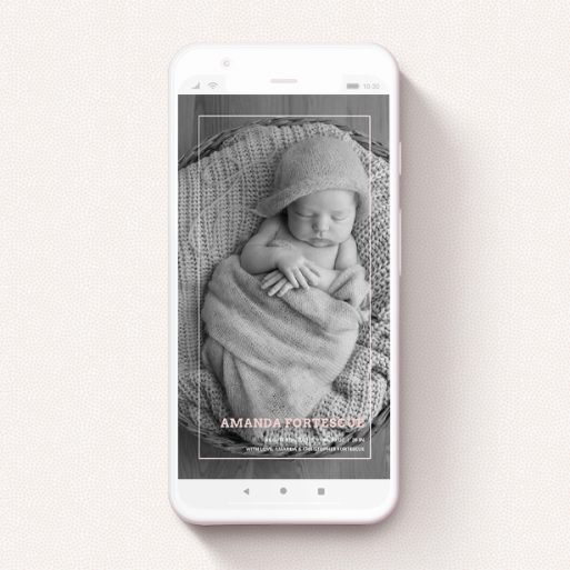"""A text message birth announcement called """"Over Photo Frame - Girl"""". It is a smartphone screen sized announcement in a portrait orientation. It is a photographic text message birth announcement with room for 1 photo. """"Over Photo Frame - Girl"""" is available as a flat announcement, with mainly pale pink colouring."""