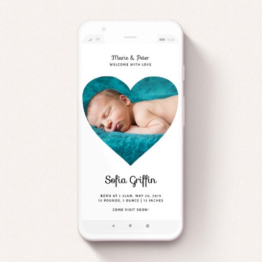 """A text message birth announcement called """"Simple Heart Frame"""". It is a smartphone screen sized announcement in a portrait orientation. It is a photographic text message birth announcement with room for 1 photo. """"Simple Heart Frame"""" is available as a flat announcement, with mainly white colouring."""