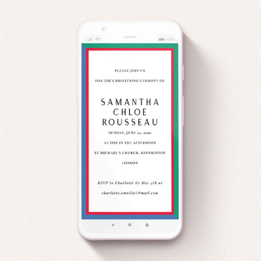 """A text message christening invite design named """"Bold Border"""". It is a smartphone screen sized invite in a portrait orientation. """"Bold Border"""" is available as a flat invite, with mainly green colouring."""