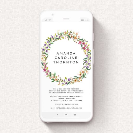 """A text message christening invite design titled """"Bright Summer Wreath"""". It is a smartphone screen sized invite in a portrait orientation. """"Bright Summer Wreath"""" is available as a flat invite, with tones of light green and orange."""