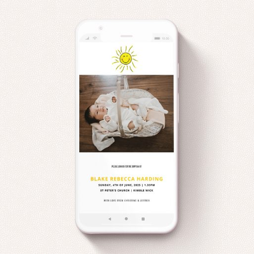 """A text message christening invite called """"Smiling Sun"""". It is a smartphone screen sized invite in a portrait orientation. It is a photographic text message christening invite with room for 1 photo. """"Smiling Sun"""" is available as a flat invite, with tones of white and yellow."""