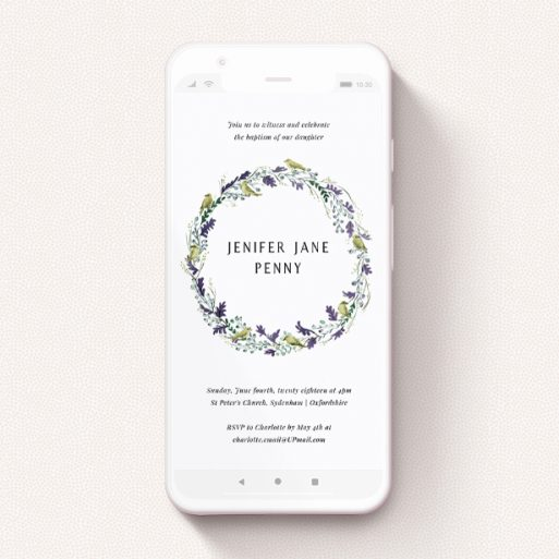 """A text message christening invite design titled """"Songbirds"""". It is a smartphone screen sized invite in a portrait orientation. """"Songbirds"""" is available as a flat invite, with tones of off-white and dark green."""