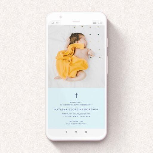 """A text message christening invite design named """"Thin Blue Cross"""". It is a smartphone screen sized invite in a portrait orientation. It is a photographic text message christening invite with room for 1 photo. """"Thin Blue Cross"""" is available as a flat invite, with mainly blue colouring."""