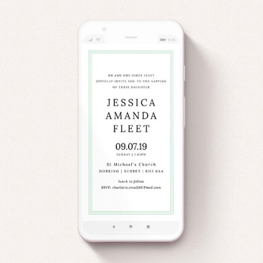 """A text message christening invite design named """"Three Green"""". It is a smartphone screen sized invite in a portrait orientation. """"Three Green"""" is available as a flat invite, with tones of green and white."""