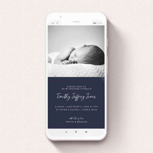 """A text message christening invite design named """"White on Blue"""". It is a smartphone screen sized invite in a portrait orientation. It is a photographic text message christening invite with room for 1 photo. """"White on Blue"""" is available as a flat invite, with tones of blue and white."""