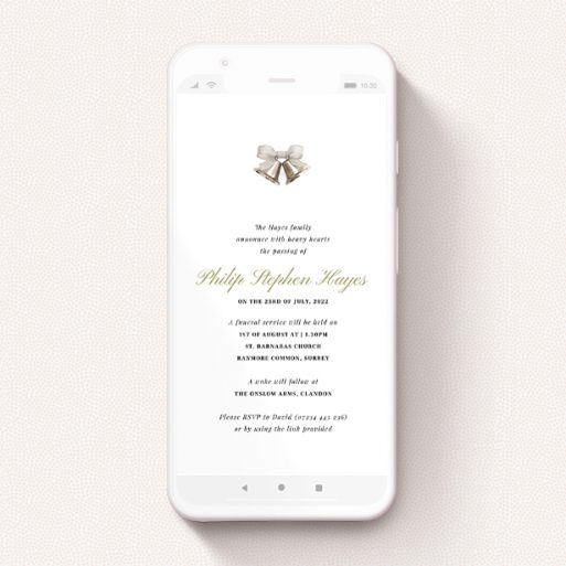 """A text message funeral announcement design named """"Church Bells Acrylic"""". It is a smartphone screen sized announcement in a portrait orientation. """"Church Bells Acrylic"""" is available as a flat announcement, with tones of white and gold."""