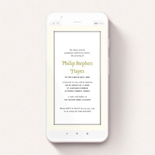 """A text message funeral announcement design named """"Deco Cream"""". It is a smartphone screen sized announcement in a portrait orientation. """"Deco Cream"""" is available as a flat announcement, with mainly cream colouring."""