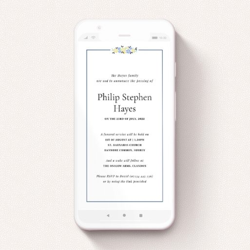 """A text message funeral announcement named """"Flower Topper"""". It is a smartphone screen sized announcement in a portrait orientation. """"Flower Topper"""" is available as a flat announcement, with tones of white and blue."""