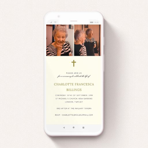 """A text message funeral announcement design named """"Golden Frame"""". It is a smartphone screen sized announcement in a portrait orientation. It is a photographic text message funeral announcement with room for 2 photos. """"Golden Frame"""" is available as a flat announcement, with tones of cream and gold."""