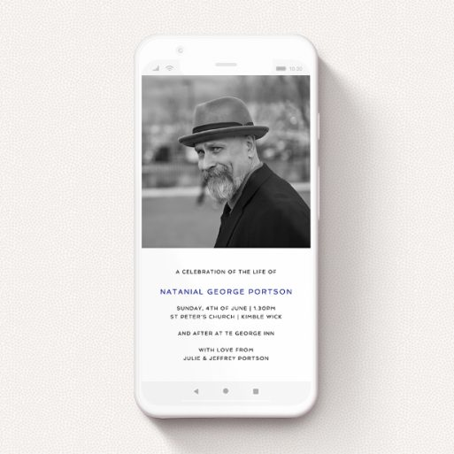 """A text message funeral announcement named """"Half and Half"""". It is a smartphone screen sized announcement in a portrait orientation. It is a photographic text message funeral announcement with room for 1 photo. """"Half and Half"""" is available as a flat announcement, with tones of white and Navy blue."""