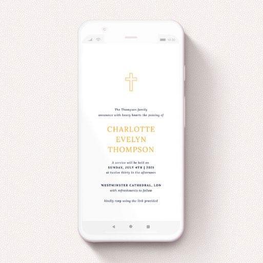 """A text message funeral announcement named """"Outline Cross in Yellow"""". It is a smartphone screen sized announcement in a portrait orientation. """"Outline Cross in Yellow"""" is available as a flat announcement, with tones of white and orange."""