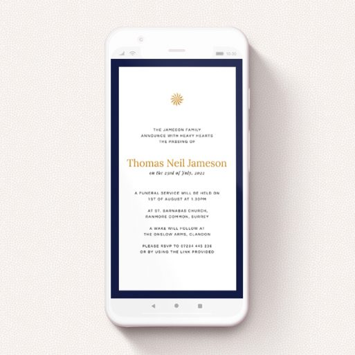 """A text message funeral announcement design named """"Thick Blue"""". It is a smartphone screen sized announcement in a portrait orientation. """"Thick Blue"""" is available as a flat announcement, with tones of navy blue and white."""