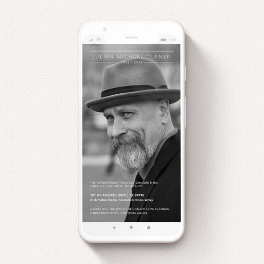 """A text message funeral announcement named """"Top and Tail"""". It is a smartphone screen sized announcement in a portrait orientation. It is a photographic text message funeral announcement with room for 1 photo. """"Top and Tail"""" is available as a flat announcement, with mainly white colouring."""
