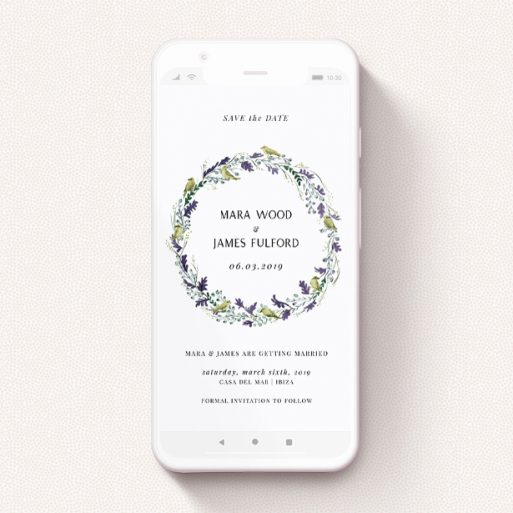 """A text message save the date design titled """"Birdsong"""". It is a smartphone screen sized save the date in a portrait orientation. """"Birdsong"""" is available as a flat save the date, with tones of off-white and dark green."""