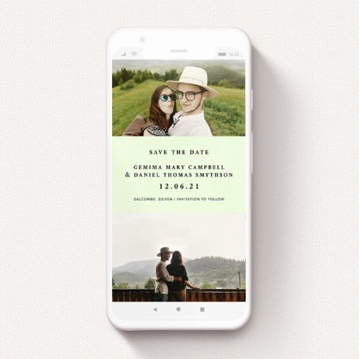 """A text message save the date design named """"Light Green"""". It is a smartphone screen sized save the date in a portrait orientation. It is a photographic text message save the date with room for 2 photos. """"Light Green"""" is available as a flat save the date, with mainly green colouring."""