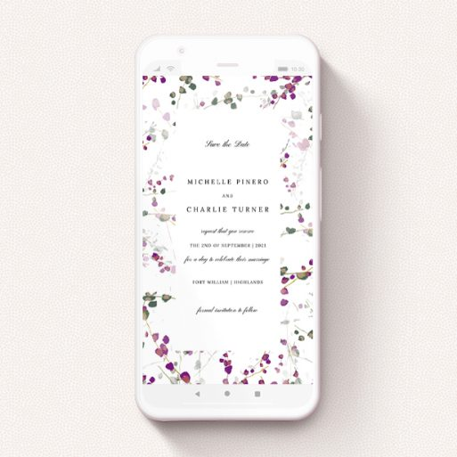 """A text message save the date design titled """"Purple Lupine"""". It is a smartphone screen sized save the date in a portrait orientation. """"Purple Lupine"""" is available as a flat save the date, with tones of white and purple."""