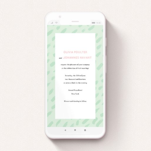 """A text message wedding invite called """"Green Strokes """". It is a smartphone screen sized invite in a portrait orientation. """"Green Strokes """" is available as a flat invite, with tones of green and white."""