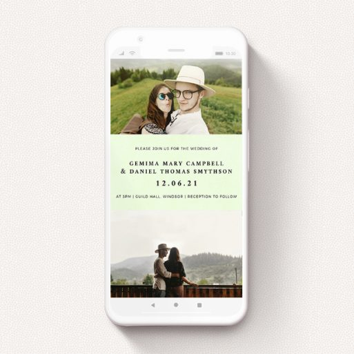 """A text message wedding invite called """"Light Green"""". It is a smartphone screen sized invite in a portrait orientation. It is a photographic text message wedding invite with room for 2 photos. """"Light Green"""" is available as a flat invite, with mainly green colouring."""