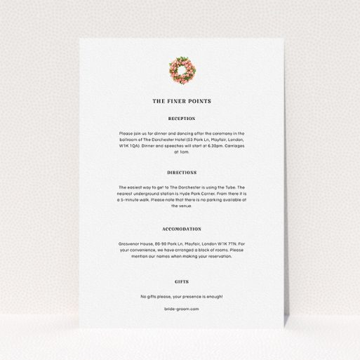 """A wedding info sheet design called """"Acrylic Wreath"""". It is an A5 card in a portrait orientation. """"Acrylic Wreath"""" is available as a flat card, with mainly white colouring."""