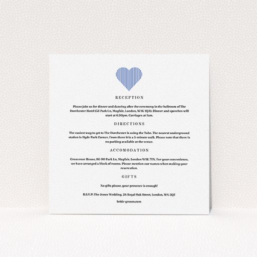 """A wedding info sheet named """"Between the Lines"""". It is a square (148mm x 148mm) card in a square orientation. """"Between the Lines"""" is available as a flat card, with tones of white and blue."""
