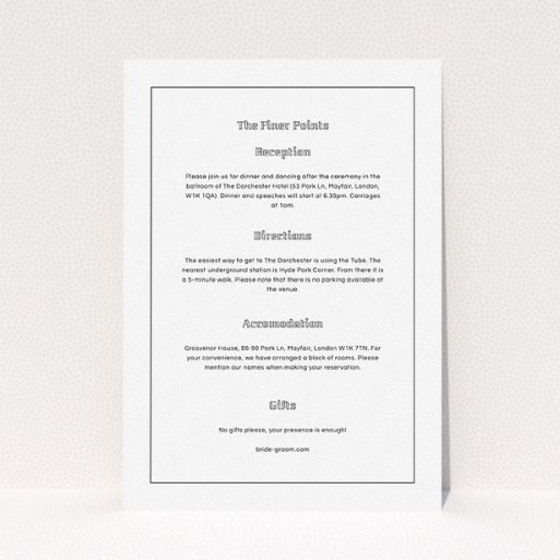 """A wedding info sheet template titled """"Deco mint"""". It is an A5 card in a portrait orientation. """"Deco mint"""" is available as a flat card, with mainly white colouring."""