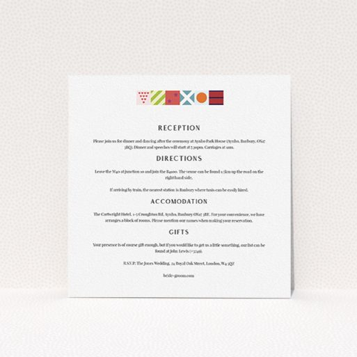 """A wedding info sheet design named """"Epsom"""". It is a square (148mm x 148mm) card in a square orientation. """"Epsom"""" is available as a flat card, with tones of white and green."""