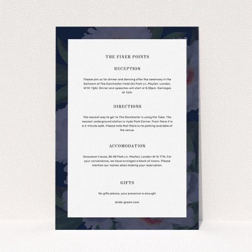 """A wedding info sheet called """"Garden at night"""". It is an A5 card in a portrait orientation. """"Garden at night"""" is available as a flat card, with mainly navy blue colouring."""