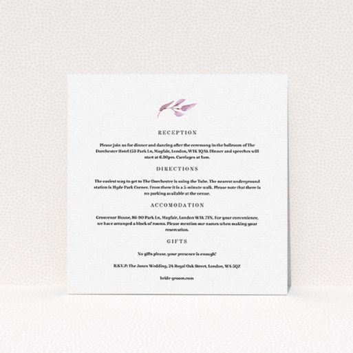 """A wedding info sheet design named """"Hues of Blue"""". It is a square (148mm x 148mm) card in a square orientation. """"Hues of Blue"""" is available as a flat card, with tones of white and pink."""