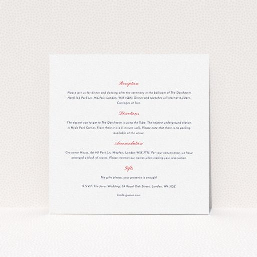 """A wedding info sheet called """"Lovebirds"""". It is a square (148mm x 148mm) card in a square orientation. """"Lovebirds"""" is available as a flat card, with mainly white colouring."""