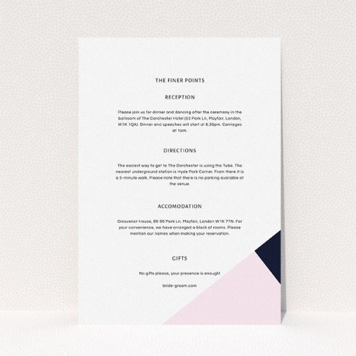 """A wedding info sheet design titled """"New York photos"""". It is an A5 card in a portrait orientation. """"New York photos"""" is available as a flat card, with tones of white and pink."""