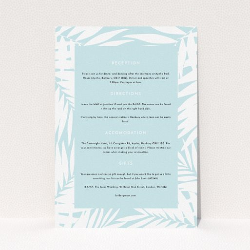 """A wedding info sheet design titled """"Pastel Jungle"""". It is an A5 card in a portrait orientation. """"Pastel Jungle"""" is available as a flat card, with tones of blue and white."""