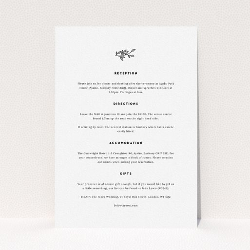 """A wedding info sheet design titled """"Simple Wreath"""". It is an A5 card in a portrait orientation. """"Simple Wreath"""" is available as a flat card, with mainly white colouring."""