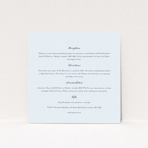 """A wedding info sheet called """"Square slant"""". It is a square (148mm x 148mm) card in a square orientation. """"Square slant"""" is available as a flat card, with mainly light blue colouring."""