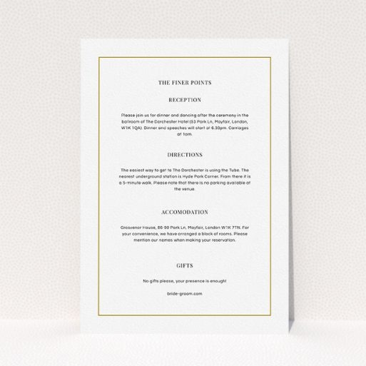 """A wedding info sheet called """"Together again"""". It is an A5 card in a portrait orientation. """"Together again"""" is available as a flat card, with mainly white colouring."""