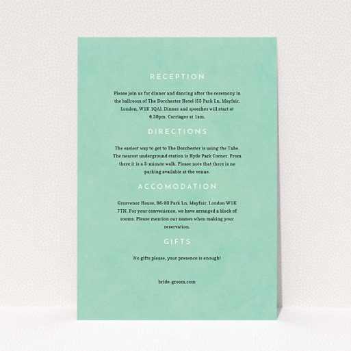 """A wedding info sheet called """"Worn Green"""". It is an A5 card in a portrait orientation. """"Worn Green"""" is available as a flat card, with mainly green colouring."""