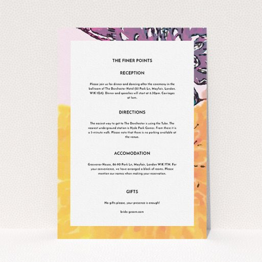 """A wedding information sheet design called """"A delivery of spring"""". It is an A5 card in a portrait orientation. """"A delivery of spring"""" is available as a flat card, with mainly purple colouring."""
