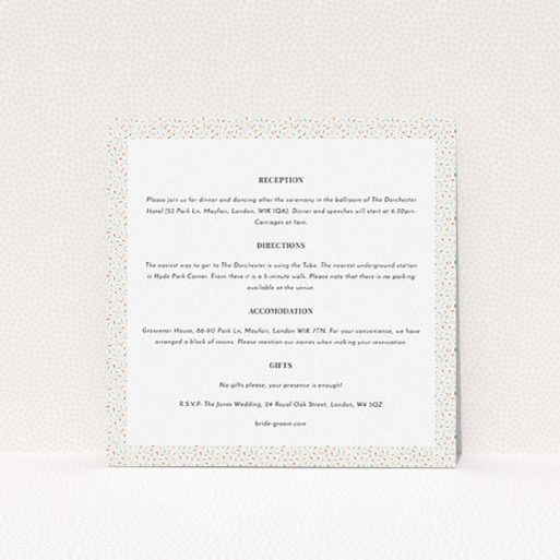 """A wedding information sheet template titled """"A hint of confetti"""". It is a square (148mm x 148mm) card in a square orientation. """"A hint of confetti"""" is available as a flat card, with tones of cream and red."""