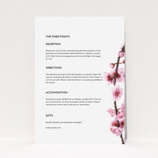 """A wedding information sheet design called """"A side of Blossom"""". It is an A5 card in a portrait orientation. """"A side of Blossom"""" is available as a flat card, with mainly light pink colouring."""