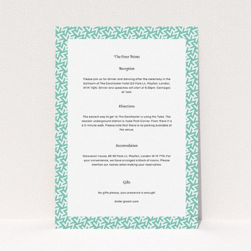 """A wedding information sheet named """"Born in the 80s"""". It is an A5 card in a portrait orientation. """"Born in the 80s"""" is available as a flat card, with mainly green colouring."""