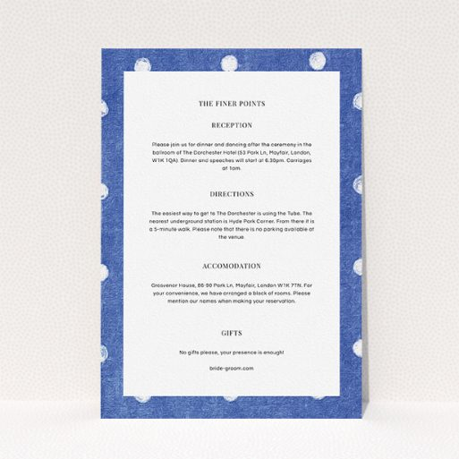 """A wedding information sheet template titled """"Cloth polkadots"""". It is an A5 card in a portrait orientation. """"Cloth polkadots"""" is available as a flat card, with tones of blue and white."""