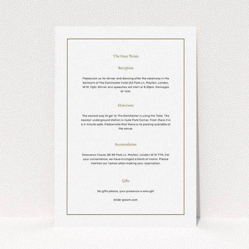 """A wedding information sheet called """"Deco Cream"""". It is an A5 card in a portrait orientation. """"Deco Cream"""" is available as a flat card, with mainly white colouring."""