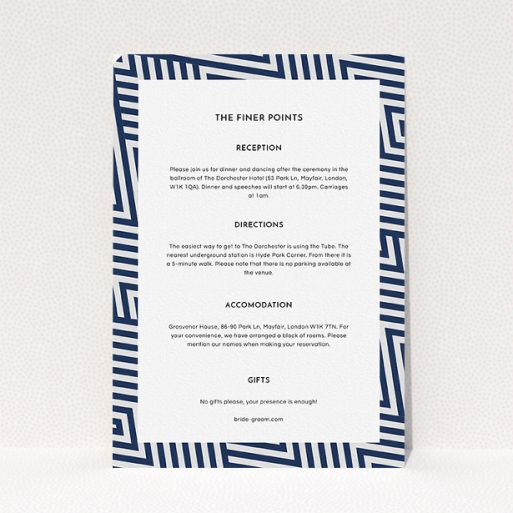 """A wedding information sheet design called """"Diamond scratch"""". It is an A5 card in a portrait orientation. """"Diamond scratch"""" is available as a flat card, with tones of navy blue and white."""